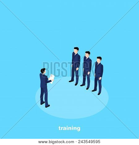 A Man In A Business Suit With A Sheet Of Paper Holds A Briefing For Beginners, An Isometric Image