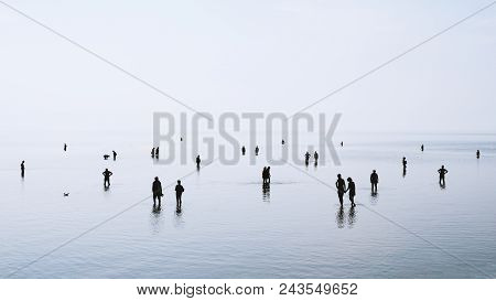 Large Group Of People Or Crowd Standing Walking And Swimming In Shallow Water At German North Sea Co