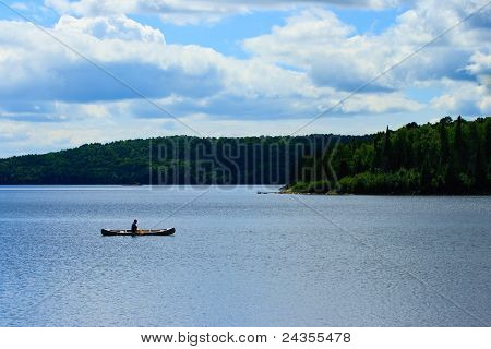 Canoeist on Wilderness Lake