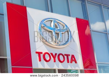 Moscow, Russia - May, 2018: Toyota Automobile Dealership Sign. Toyota Is A Japanese Manufacturer Of