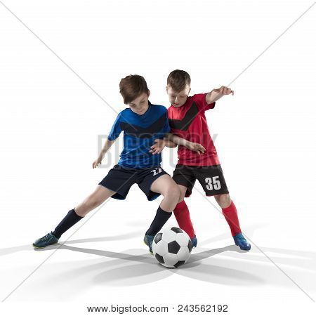 Two Teenage Fotball Players Struggling For The Ball Isolated On White Background