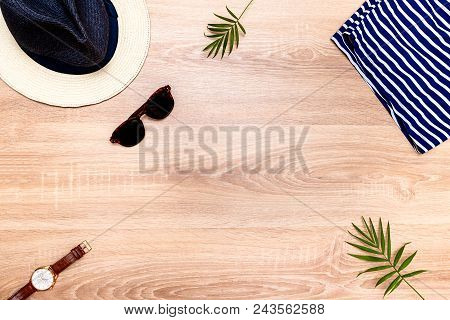Top View Of Vacation Accessories With Copy Space And Summer Beach Items. Lay Flat Fashion Background
