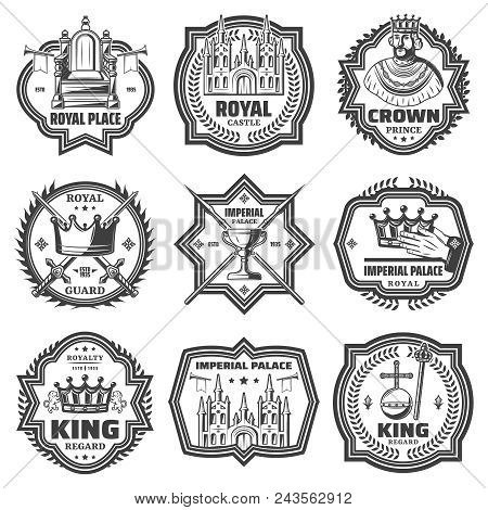 Vintage Monochrome Imperial Labels Set With King Throne Trumpet Royal Regards Sword Lance Palace Iso