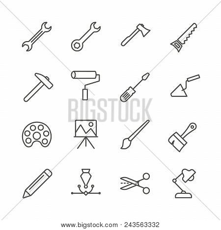 Work Tools Set Icon Vector. Outline Handmade Tools Collection. Trendy Flat Instrument Sign Design. T