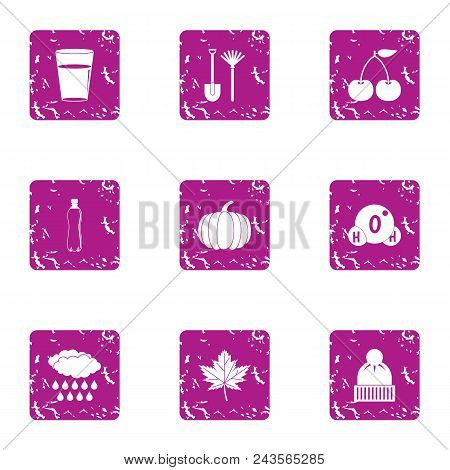 Cold Snap Icons Set. Grunge Set Of 9 Cold Snap Vector Icons For Web Isolated On White Background