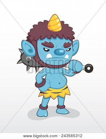Cute Style Blue Japanese Single Horn Demon Standing Illustration .