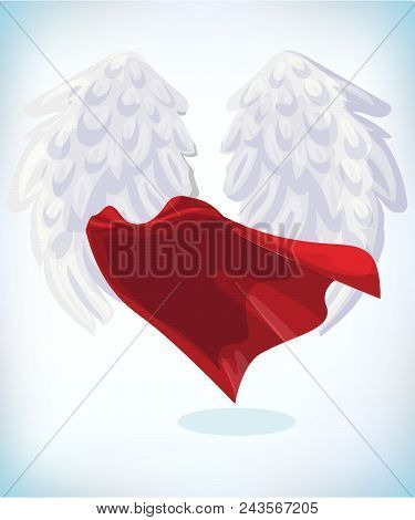 Angel Wings. Masquerade Costume. Carnival Or Halloween Cartoon Vector Illustration. Funny Super Hero