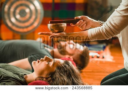 Tibetan Singing Bowl In Sound Therapy, Color Image