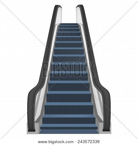 One Escalator Mockup. Realistic Illustration Of One Escalator Vector Mockup For Web Design Isolated