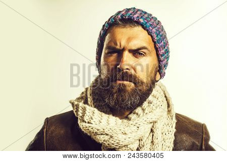 Handsome Bearded Man Wearing Autumn Or Winter Clothing. Serious Man With Beard And Mustache Wearing