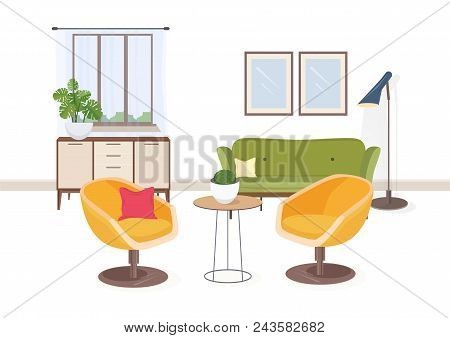 Stylish Interior Of Living Room Or Salon Full Of Comfortable Furniture And Home Decorations. Modern