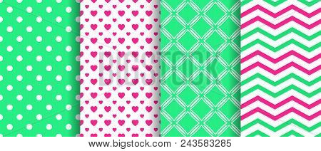 Vector Seamless Pattern Set. Spring Repeated Texture. Geometric Backgrounds Collection. Green, Pink.