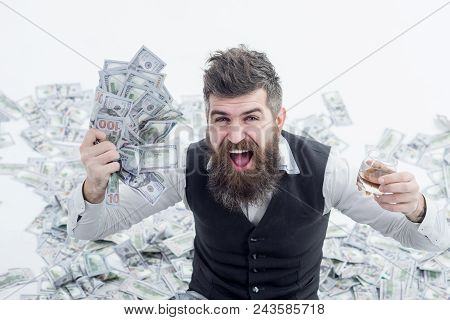 Income. Benefit. Earnings. People Concept. Portrait Of Glad Satisfied Rich Bearded Millionaire Demon