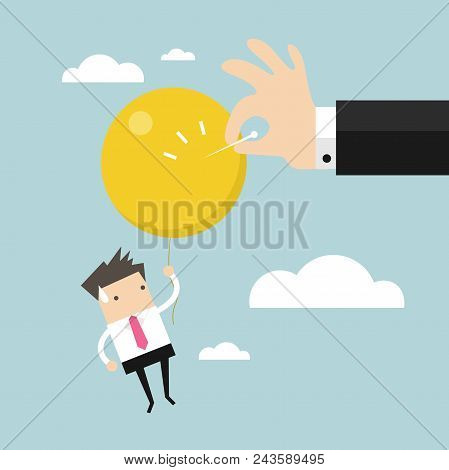 Businessman Hand Pushing Needle To Pop The Balloon. Vector