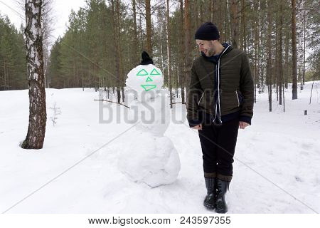 New Year Christmas Snow Concept Christmas Man With Beard On Happy Face. Xmas Leisure And Aviation. S