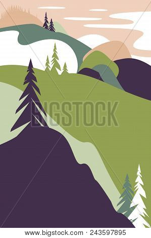 Landscape With Mountains. Poster For Tourism With The Natural Environment, National Parks, Clean Env
