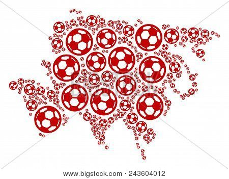 Football Asia Map. Vector Geographic Plan Built From Football Balls In Variable Sizes. Abstract Asia