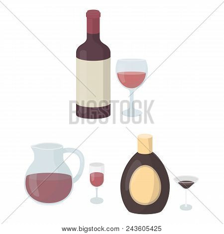 Types Of Alcohol Cartoon Icons In Set Collection For Design. Alcohol In Bottles Vector Symbol Stock