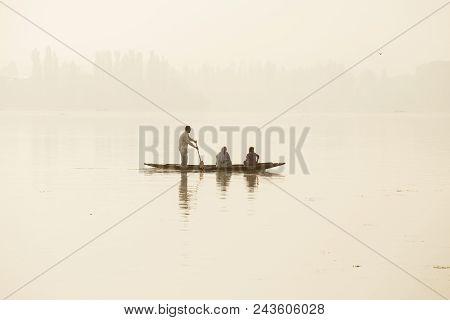 Srinagar, India - Juny 07, 2015 : Lifestyle In Dal Lake, Local People Use Shikara, A Small Boat For