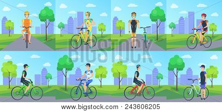 Cyclists Riding Bicycle In Park Vector Poster In Graphic Design. Set Of Isolated Male People Leading