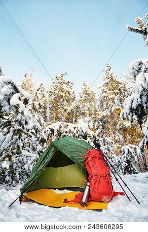 Camping In The Winter Forest In The Mountains With A Backpack And Tent ..