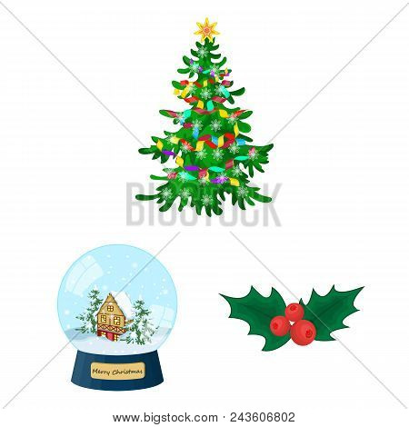 Christmas Attributes And Accessories Cartoon Icons In Set Collection For Design. Merry Christmas Vec