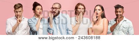 Secret, Gossip Concept. Young Men And Women Whispering A Secret Behind Hands. Business People Isolat
