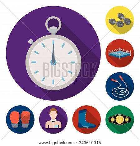 Boxing Extreme Sports Flat Icons In Set Collection For Design. Boxer And Attributes Vector Symbol St