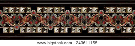 Vintage Striped Paisley Seamless Border Pattern. Bright Black Red Gold Floral Background. 3d Paisley