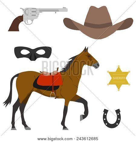 Wild West. Elements Of The Wild West. A Horse, A Cowboy's Cap, A Sheriff's Star, A Horseshoe.