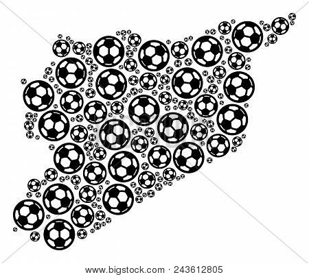 Football Syria Map. Vector Geographic Plan Built From Soccer Spheres In Different Sizes. Abstract Sy