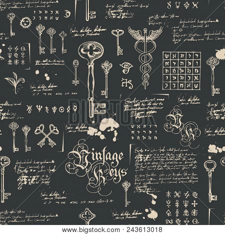 Vector Seamless Pattern With Vintage Keys And Lettering. Hand Drawn Illustration. Wallpaper, Wrappin