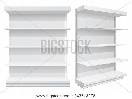 Advertising Pos Poi Display Rack Shelves For Supermarket Floor Showcase On The White Background. Fro