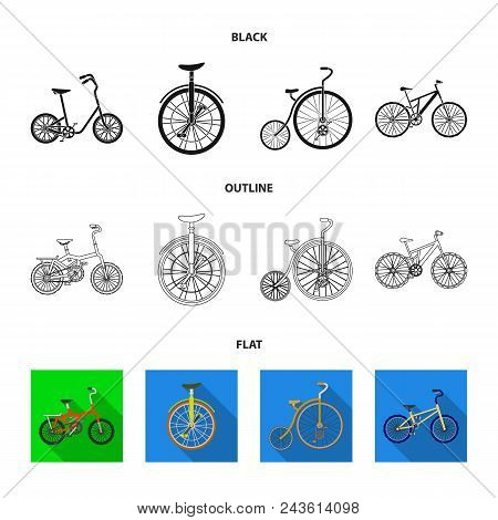 Retro, Unicycle And Other Kinds.different Bicycles Set Collection Icons In Black, Flat, Outline Styl