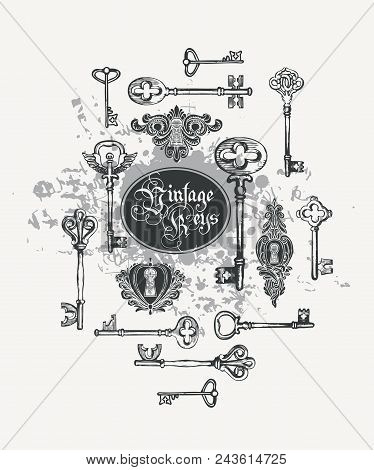 Vector Banner With Vintage Keys, Keyholes And Lettering In Retro Style. Gothic Font. Hand Drawn Illu