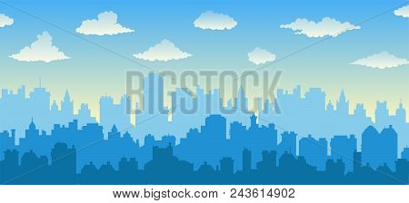 Flat Cityscape With Blue Sky, White Clouds Over City And Sunset/sunrise. Modern Morning City Skyline
