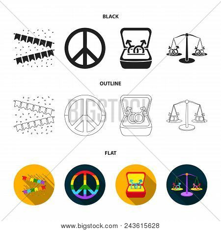 Flags, Rainbow, Emblem, Rings. Gay Set Collection Icons In Black, Flat, Outline Style Vector Symbol
