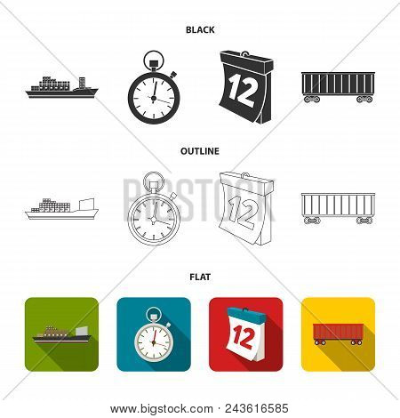 Cargo Ship, Stop Watch, Calendar, Railway Car.logistic, Set Collection Icons In Black, Flat, Outline