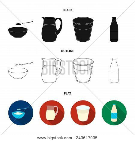 Bowl Of Cottage Cheese, A Glass, A Bottle Of Kefir, A Jug. Moloko Set Collection Icons In Black, Fla
