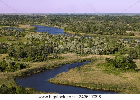 Vorskla River Delta At Summer Day. Nature Reserve Landscape Of Ukraine. Beautiful View From Above On