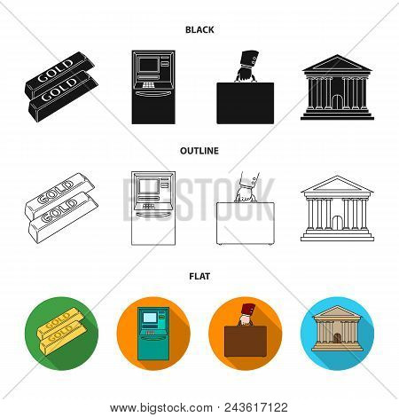 Gold Bars, Atm, Bank Building, A Case With Money. Money And Finance Set Collection Icons In Black, F