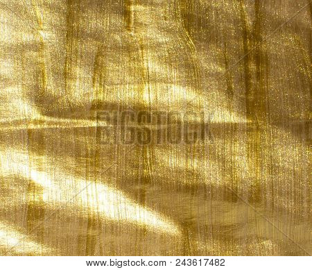 Gold Acrylic Glitter Background. Hand Painted Background