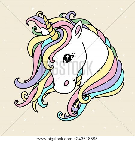 White Cute Unicorn Vector Head With Mane And Horn. Unicorn On Starry Background, Card And Shirt Desi