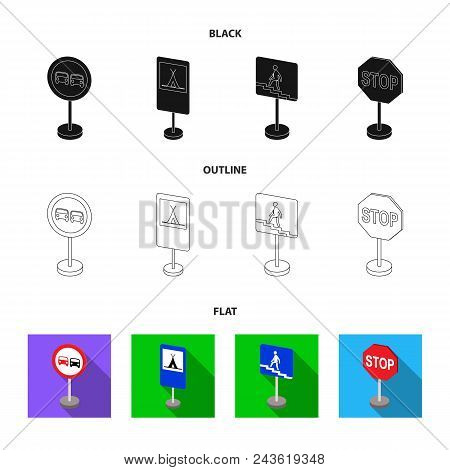 Different Types Of Road Signs Black, Flat, Outline Icons In Set Collection For Design. Warning And P