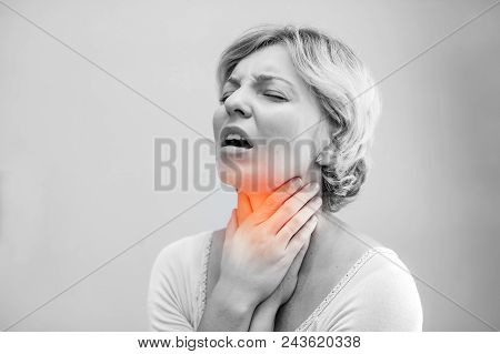 Throat Pain. Closeup Of Sick Woman With Sore Throat Feeling Bad, Suffering From Painful Swallowing.