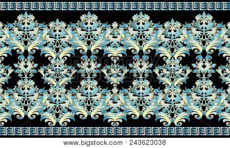 Baroque 3d Seamless Border Pattern. Damask Ornaments With Blue Gold Flowers, Scroll Leaves. Vector F