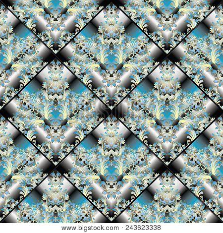 Baroque 3d Seamless Pattern. Vintage Damask Ornaments In Tiled Rhombus Shapes. Blue Gold Baroque Flo