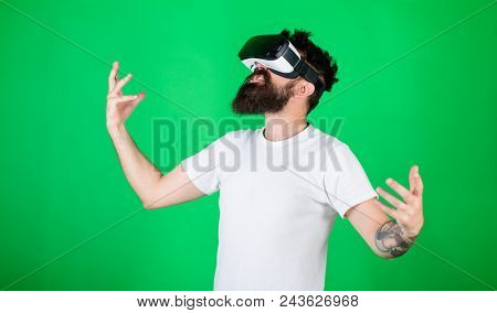 Power Concept. Hipster On Shouting Face Raising Hands Powerfully While Interact In Virtual Reality.