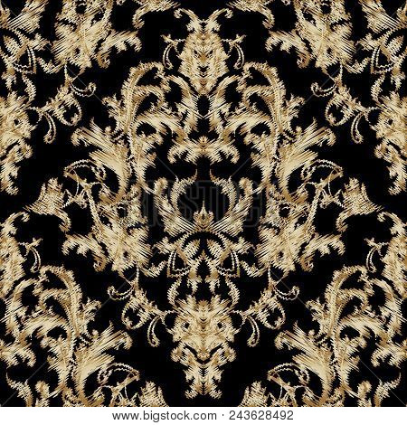 Embroidery Baroque Seamless Pattern. Black Vector Grunge Background. Tapestry Gold Damask Flowers, S
