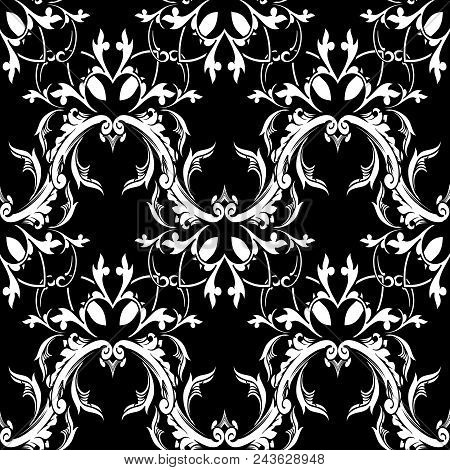 Damask Baroque Floral Seamless Pattern. Black White Background Wallpaper With Scroll Leaves, Damask